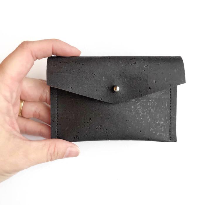 micaela flora – black compact wallet